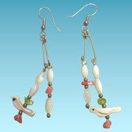 Long Bird Fetish Earrings - MOP Shell and Coral & Green Stones