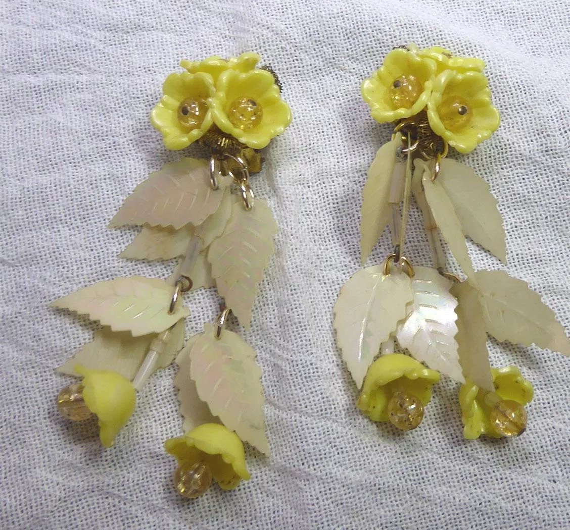 Vintage West Germany 3 Long Yellow Flower Dangle Earrings With