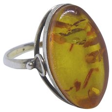 875 Silver and Russian Amber Signed Vintage Ring