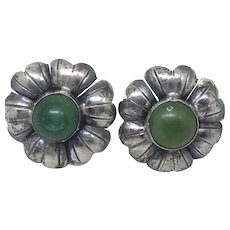 Older Vintage Mexican Sterling Silver Flower Earrings With Green Stones Circa 1935