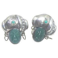 Vintage 'Silver Mexico' Sterling Earrings - Moorish Influence With Turban & Green Stone Mask