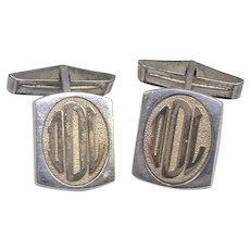 Heavy 14K Gold & Sterling Silver Initial Cuff Links Cufflinks Signed Ballou