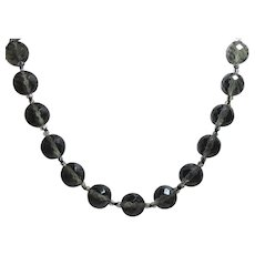 "Big Bold Vintage Smoky Gray Faceted Glass Bead Necklace - 30"" Long & Big 0.55"" Beads"