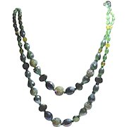 Bold Vintage Art Glass Bead Necklace With Both Faceted & Smooth Green Yellow AB Beads