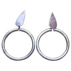 "Mexican Sterling Silver Dangling Hoop Earrings Signed TR-52 - 1.75"" across"