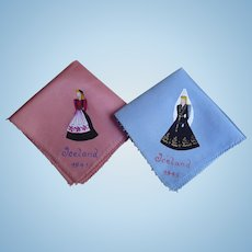 A Pair of Vintage WWII US Occupation Souvenir Iceland 1941 Handpainted Pink Handkerchiefs - Pink & Blue