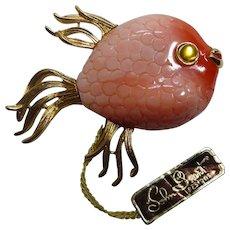 Fabulous Vintage Lucite Fish Brooch in Pink & Gold - Signed MV - John Grant Hangtag