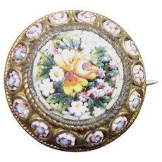 Gorgeous Victorian Signed FAP - FABBRICA ANGELO PESSAR - Micro Mosaic Pin
