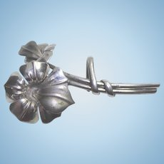Vintage Sterling Silver Flower Bouquet Brooch With Watch Pin Hook - Signed MK