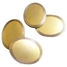 Antique Golden Oval Double Panel Cufflinks Signed CAM&Co