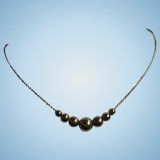 Vintage Gold over Sterling Silver Necklace with Golden Balls