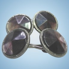 Art Deco Era Cuff Links Cuff Buttons Double Panel With Faceted Abalone Shells