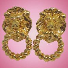 Gorgeous Golden Lion Door Knocker Look Earrings For Pierced Ears