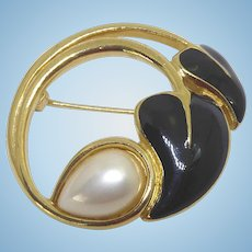 Pretty Signed Trifari Open Circle Brooch - Golden w Faux Pearl & Black Enamel