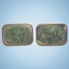Handsome Vintage Green Quartz Stone Cuff Links In Golden Settings