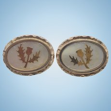 Vintage Golden & White Oval Cuff Links With Thistles