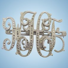 Art Deco Era Marcasite Initial Brooch With Changeable Initials On Frame - Missing some stones