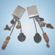 Rare Signed Kris Perry Sterling Dangle Earrings Dated 1990 Shark Teeth & Fossils