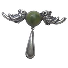 Older Vintage Mexican Sterling Silver Double Bird Brooch With Green Stone and Teardrop Dangle