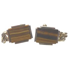 Vintage Tigers Eye Cuff Links Cufflinks Wrap Around Chain Signed S In a Pentagon