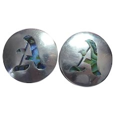 Vintage Sterling Silver & Abalone Shell Initial A Cufflinks Mexico Signed Rancho Alegre