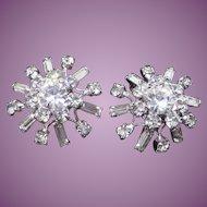 Pretty Sparkly Vintage Rhodium Plated Rhinestone Clip On Earrings