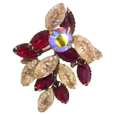 Vintage Art Glass Rhinestone Brooch AB Crystal Red Stones & Fruit Salad Pink Stones