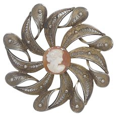 Vintage Stanco Cannetille Brooch With Center Cameo - Goldwashed Sterling Silver Setting