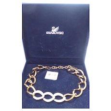 Beautiful Swan Signed Swarovski Donatella Necklace In Original Box With Original Tags