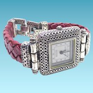 Beautiful Etruscan Look Eclissi Sterling Silver Wristwatch With Red Braided Band