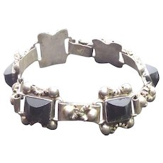Vintage Mexican Sterling Silver Bracelet with Black Stones Signed EHP Iguala 925