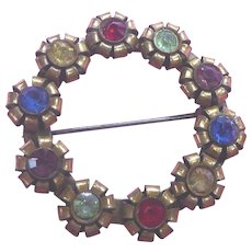 Older Vintage Brooch With Colorful Riveted Rhinestones - C Clasp