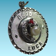 Circa 1960s Signed Elco Sterling Silver Charm - Good Luck With Horseshoe & Faux Pearl