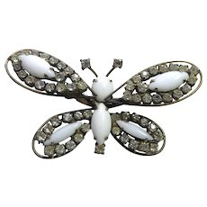 Interesting Older Vintage Milk Glass Butterfly Brooch - Trembler With Rhinestones