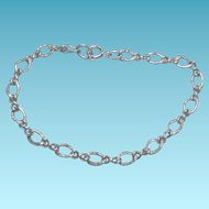 Signed Wells Sterling Silver Charm Bracelet - Dual Textured