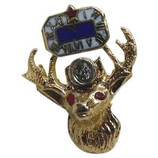 10K Gold & Diamond Elk Fraternal Pin Signed Wefferling Berry - With a Large 2.24mm Diamond