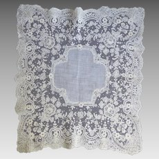 Gorgeous Vintage Wedding White Bridal Handkerchief With Fancy Tambour Lace Trim