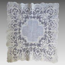 Gorgeous Vintage Wedding White Bridal Handkerchief With Fancy Tambour Lace Trim