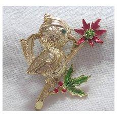 Vintage Bird Brooch On Poisettia Bush With Holly
