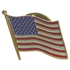 Costume Hearty 6 Vintage Gold Tone Rhinestone Red Clear And Blue American Flag Pins Brooches Pure White And Translucent