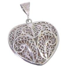 Sterling Silver Filigree Heart Pendant Signed S In A Diamond Turkey 925