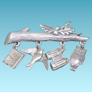 Adorable Sterling Silver Birdwatching Charm Brooch Marked 925