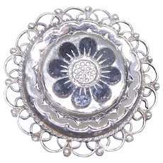 Ornate Mexican Sterling Silver Pendant Brooch With Black Stone Flower - Signed JFCM