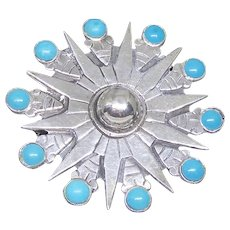 Vintage Mexican Sterling Silver Aztec Calendar Brooch With Blue Stones - Signed
