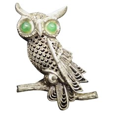 Cute Vintage Sterling Silver Green Eyed Owl by Willi Nonnenmann Germany