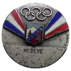 Rare Vintage Enamel Megeve France Olympics Pin Signed A Augis - Lyon