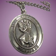 Signed Bliss Sterling Vintage St Christopher With Christ Child Religious Medal On Chain