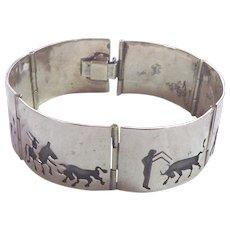 Older Mexican Sterling Silver Bull Fight Panel Story Teller Bracelet Signed JPM