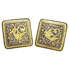 Ornate Damascene Cuff Links Cufflinks With Scenes Of Dragons