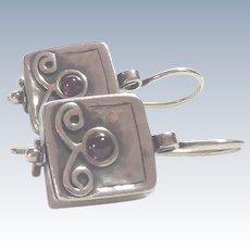 "Shablool Sterling Silver & Amethyst Earrings Marked ""DIDAE"""